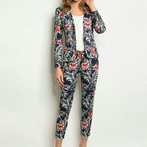 Jackets & Blazers - Single Breasted Floral Print Cotton Blazer